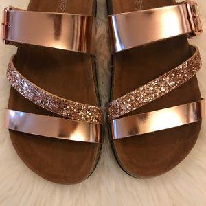 Rose Gold Glitter Strap Buckle Footbed Sandal